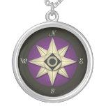 Vintage dunkle lila Kompass-Halskette