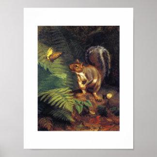 Vintage Eichhörnchen-Kunst Poster