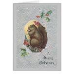 Vintage Eichhörnchen-Weihnachtskarte Grußkarten