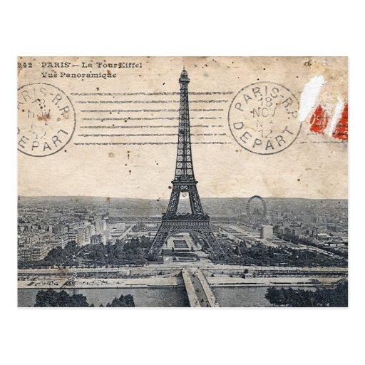 Vintage Eiffel-Turm-Postkarte