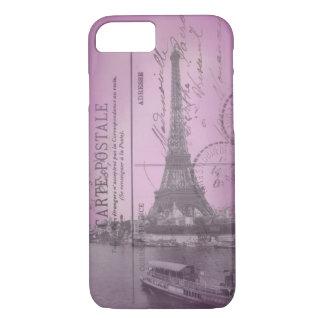 Vintage Eiffel-Turm-Postkarte im rosa iPhone 7 cas iPhone 8/7 Hülle