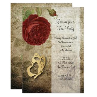 Vintage Einladung des Garten-Rosen-Party-|