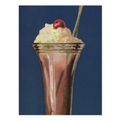 Vintage Eiscreme-Erschütterung, gepeitschte Creme Postkarte
