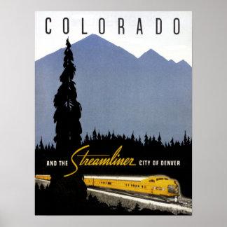 Vintage Eisenbahn-Reise Denvers Colorado Poster