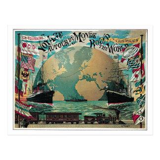 Vintage Eisenbahn- und Seereiseweltkartenanzeige Postkarten
