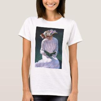 Vintage elegante Kunst-viktorianische Dame Reading T-Shirt
