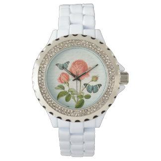 Vintage elegante mit Blumenuhr der Rose u. des Armbanduhr
