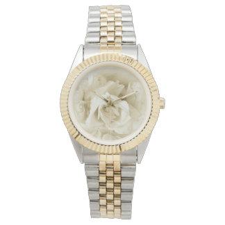 Vintage elegante Shabby Chic-Weiß-Rose Uhr