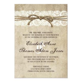 Vintage Eleganz-Schnur auf 12,7 X 17,8 Cm Einladungskarte