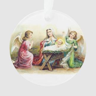 Vintage Engel, die Baby Jesus und Mary umgeben Ornament