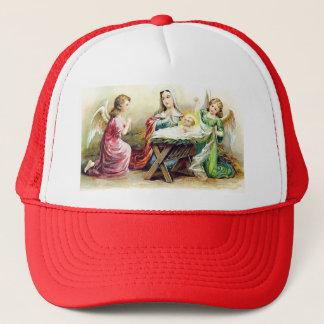 Vintage Engel, die Baby Jesus und Mary umgeben Truckerkappe