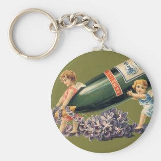 Vintage Engel mit Champagne; Ein guten Rutsch ins Schlüsselanhänger
