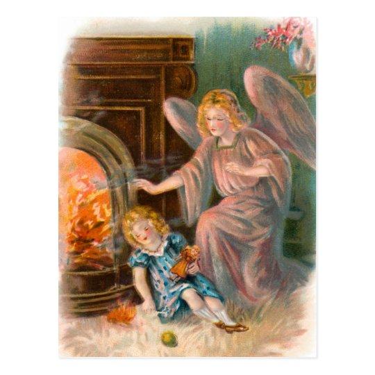 Vintage Engel, Schutzengel Mädchen und Feuer Postkarte