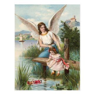 Vintage Engel Schutzengel mit Mädchen Postkarte