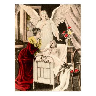 Vintage Engel Schutzengel, Mutter und Kind am Bett Postkarte