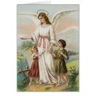 Vintage Engel Schutzengel und zwei Kinder Karte