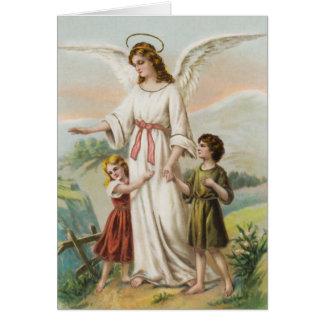 Vintage Engel Schutzengel und zwei Kinder Karten