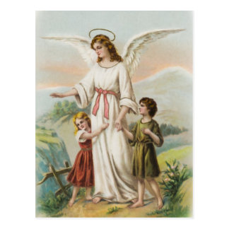 Vintage Engel Schutzengel und zwei Kinder Postkarte