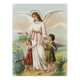 Vintage Engel Schutzengel und zwei Kinder Postkarten