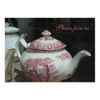Vintage englische Teekanneteatime-Einladung Karte