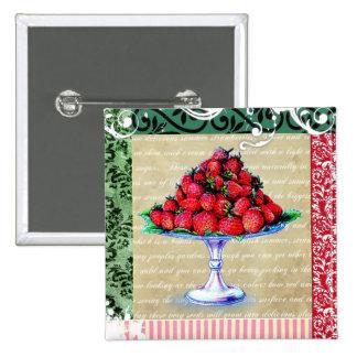 Vintage Erdbeercollage Anstecknadelbutton