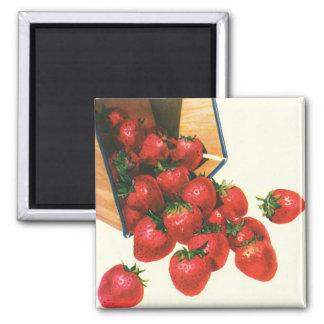 Vintage Erdbeeren im Korb, Quadratischer Magnet
