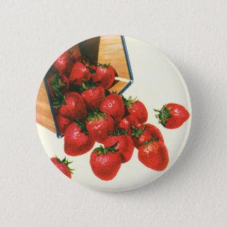 Vintage Erdbeeren im Korb, Runder Button 5,1 Cm
