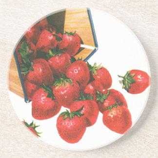 Vintage Erdbeeren im Korb, Sandstein Untersetzer