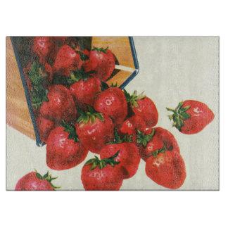 Vintage Erdbeeren im Korb, Schneidebrett