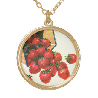Vintage Erdbeeren im Korb, Vergoldete Kette