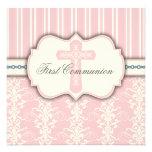 Vintage erste Kommunions-rosa Damast-Einladung