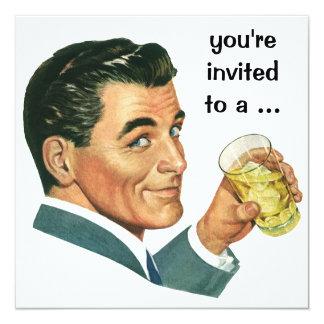 Vintage erwachsener Mannesgeburtstags-Party Quadratische 13,3 Cm Einladungskarte