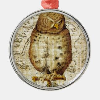 Vintage Eule Rundes Silberfarbenes Ornament