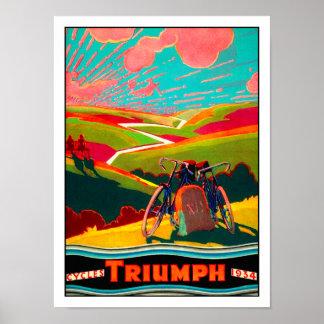 Vintage Fahrrad-Anzeige - Fahrrad auf Abhang Poster