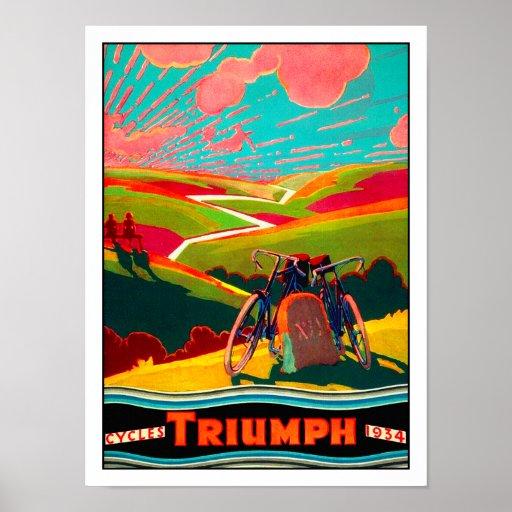Vintage Fahrrad-Anzeige - Fahrrad auf Abhang Plakatdruck