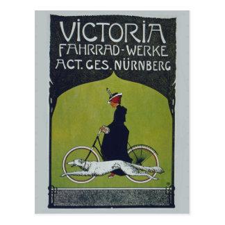 Vintage Fahrrad-Dame u. Hund Postkarte