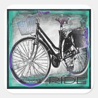 Vintage Fahrrad-Fahrt aquamarin Quadratischer Aufkleber
