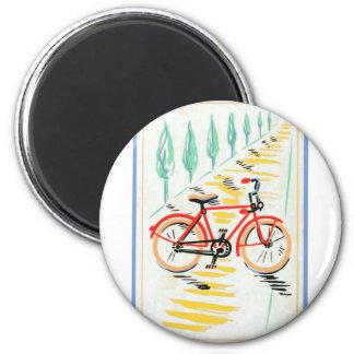 Vintage Fahrrad-Kunst Runder Magnet 5,1 Cm