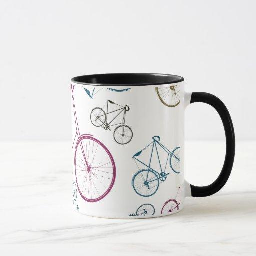 vintage fahrrad muster geschenke f r radfahrer tasse zazzle. Black Bedroom Furniture Sets. Home Design Ideas