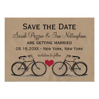 Vintage Fahrrad-Save the Date Hochzeits-Karten