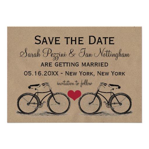 Vintage Fahrrad-Save the Date Hochzeits-Karten Personalisierte Einladung