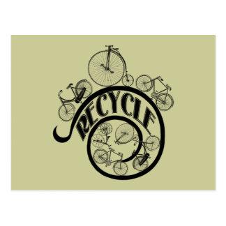 Vintage Fahrräder recyceln Kleid und Geschenke Postkarte