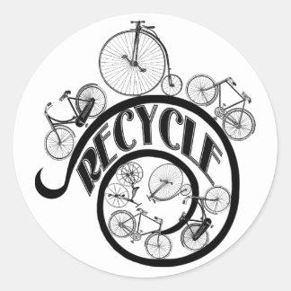 Vintage Fahrräder recyceln Kleid und Geschenke Runder Aufkleber