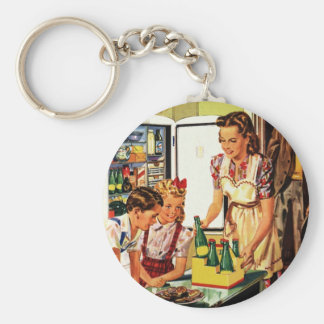 Vintage Familie im Küchen-Mamma-Vati scherzt Schlüsselanhänger