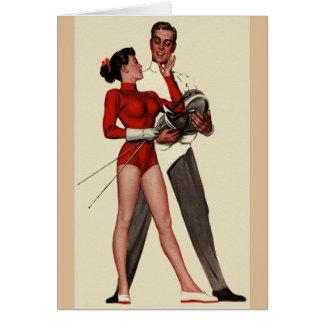 Vintage fechtende Paar-romantische Gruß-Karte Karte