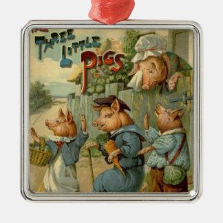 Vintage feenhafte Geschichte, drei kleine Schweine Silbernes Ornament