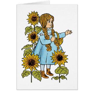 Vintage feenhafte Geschichtedorothy-Sonnenblumen Karte