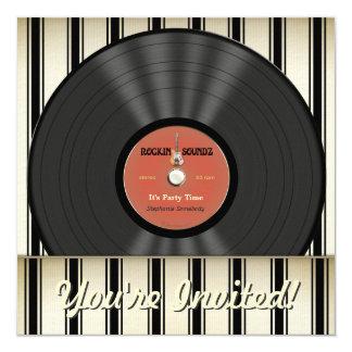 Vintage Felsen-Vinylaufzeichnungs-Party Quadratische 13,3 Cm Einladungskarte