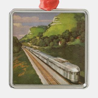 Vintage Ferien durch Zug, Lokomotive im Land Quadratisches Silberfarbenes Ornament