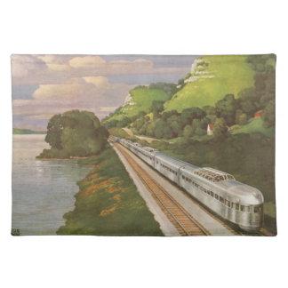 Vintage Ferien durch Zug, Lokomotive im Land Stofftischset